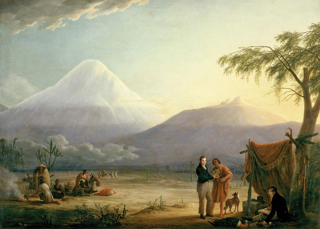 Humboldt at the foot of Chimborazo in this early 19th century