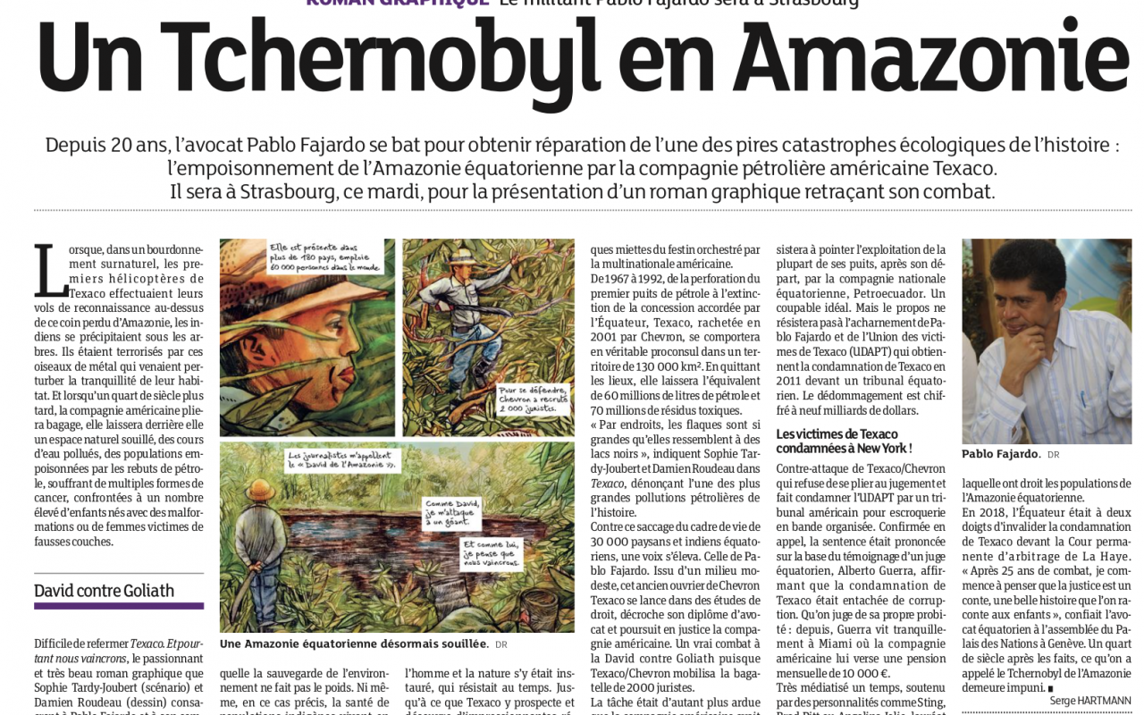 Article de presse sur la BD Texaco